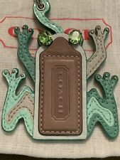 NWT COACH Frog Leather Crystal Keychain keyring KEY FOB Bag Purse Charm 92493