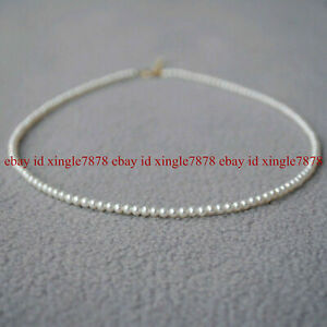 """Gorgeous 20"""" Mini AAA+ 3-4mm Real Natural Akoya White  Round Pearl Necklace 14K"""