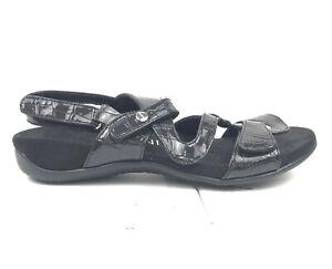 Vionic Paros Slingback Sandals Womens Size 5 Black Shoes Patent 8.0 342PAROS