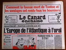 Le Canard Enchaîné 26/8/1992; L'Europe de l'Atlantique à l'oral/ Folie Boursière