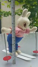 VINTAGE BUNNY ICE SKATING RABBIT SKI CHAMP WIND UP CLOCKWORK TOY 60's USSR CCCP
