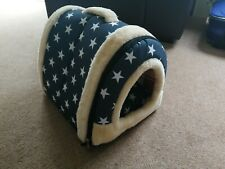 Cat Dog Bed Cat Dog House Blue Warm Fur lined Pad Cushion Washable Stars