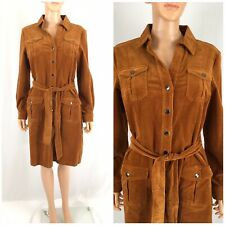 Vintage 90s Corduroy Dress Western Boho Belted Button Shirt Dress M/L Brown