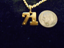 bling gold plated sport didget number 71 pendant charm chain hip hop necklace gp