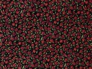 STRETCH  VELVET-DITSY FLORAL-BLACK/FUCHSIA -DRESS/CRAFT FABRIC-FREE P&P(UK ONLY)