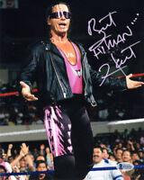 BRET HITMAN HART SIGNED AUTOGRAPHED 8x10 PHOTO WWE LEGEND BECKETT BAS