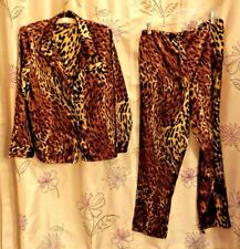 WOMEN'S FREDERICK'S OF HOLLYWOOD 2-PC POLY LEOPARD PRINT L/S PAJAMAS, SIZE SMALL