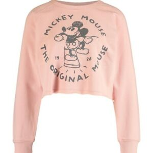 DISNEY  Rose Cropped Retro Mickey Mouse Graphic Sweatshirt Size L