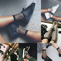 New Women Girls Fishnet Ankle High Socks Mesh Lace Fish Net Short Socks Ruffle