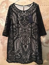 New M&S Collection Size 18 Dress Black/Nude Embroidery Round Neck