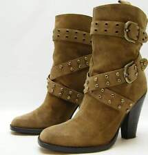 WOMEN JOAN AND DAVID DAKERRIS BRN SUEDE LEATHER MID CALF STUDDED BOOTS 8.5~1/2 M