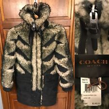 Coach Women XXS Pieced Sheepskin Coat Natural Leather Lamb Shearing Black $2,495