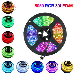 1/2/3/4/5m Strip Lights SMD 5050 RGB 30 LED/m White Waterproof Tape Party Bar