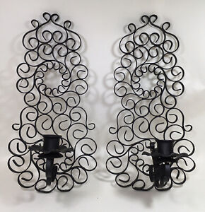 Black Metal Wall Sconce Taper Candle Holders Set of 2 Boho Decor Scroll
