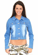 Ladies Womens Fitted Stretch Cropped Short Light Blue Faded Denim Jeans Jacket 12