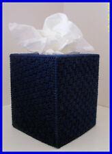 NAVY BLUE NURSERY HANDMADE PLASTIC CANVAS TISSUE BOX COVER TOPPER