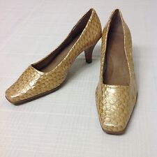 Aerosoles Sz 8 M Gold Yellow Snake Skin Patent Leather Career Pumps Heels Envy