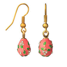 Faberge Egg Earrings with crystals 0.6'' (1.5 cm) pink #0970-04