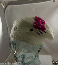 Hello Kitty white knit bow hat cap Sanrio cute winter garb