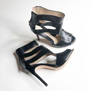 Carolinna Espinosa Lillian Leather High Heel Sandal High Ankle Black Shoes 7.5