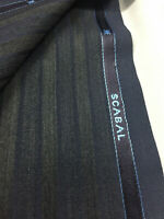 2.3 Metres Navy & Grey Two Tone Stripe Super 150s Wool Suit Fabric by Scabal