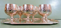 6 Vintage Silver Liqueur Cups/Shot Glasses Engraved English Silver Plate & Tray