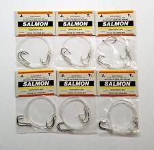 (6) 2-SLIP TIED 3/0-4/0-40LB TEST MUSTAD BARBLESS HOOKS SALMON MOOCHING RIGS