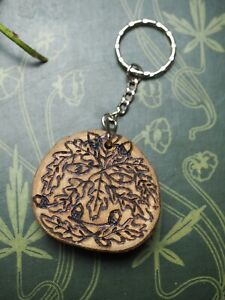 English Oak Wood Greenman Key Ring Strength & Courage - Pagan, Witchcraft, Chain