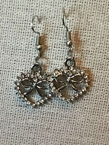 Silver Toned Heart Shaped Dangle Earrings - new