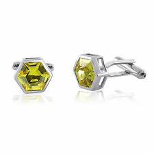 Sterling Silver 925 Yellow Cufflinks CZ Cubic Zirconia Fathers Day Sale!