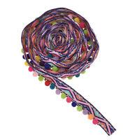 2 Yard Embroidery Tassel Trim Fringe Pom Balls Ribbon Fabric Sewing Band