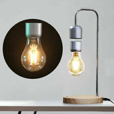 Luxury Floating Bulb Light Desk Table Lamp Wireless Qi Phone Charger Wooden Base