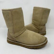 UGG Australia Classic Short 5825 Boots Sand Brown Suede Sheepskin Womens Size 6