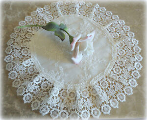 """Doily 15"""" Lace Table Topper Ivory Princess Lace Round Dresser Scarf Cream"""