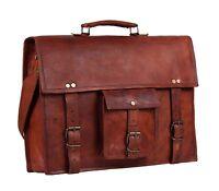 S to XL Leather messenger bag laptop Work computer shoulder Briefcase Satchel