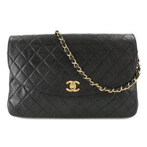 CHANEL Matelasse Chain Shoulder Bag Leather Black CC Purse 90110311