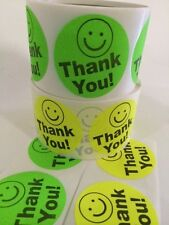"""60 THANK YOU SMILEY 2"""" GREEN YELLOW NEON BEST PRICE THANK YOU LABELS 2"""" SHIPPING"""