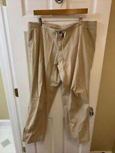 Patagonia Men 38 x 31 Flat Front Drawstring Pants Organic Cotton Tan Khaki Beige