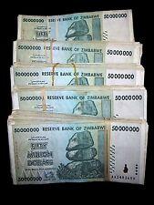 500 x Zimbabwe 50 million dollar banknotes-5 full bundles-2008/AA