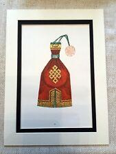 Vintage Costume Print Mongolian Embroidery Purse Bag Art Ethnic Textile Design