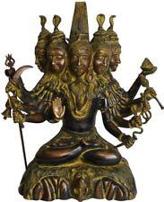"Panchamukha Shiva Sit Blessing Jai God Statue 16""Black Brass Figure Hindu 10.7KG"