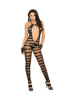 Opaque & Diamond Net Striped Bodystocking Open Crotch Red or Black Woman Clothes