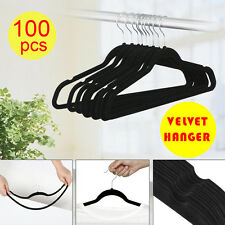 100PCS Wholesale Flocked Non Slip Velvet Clothes Hangers Suit/Shirt/Pants Bulk