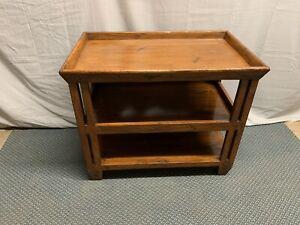 Vintage Distressed Wood Side End Table