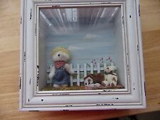 VINTAGE 3D TEDDY BEAR PICNIC FRAMED PICTURE