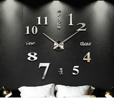 Home Office Art Modern DIY 3D Art Mirror Large Numeral Stickers Wall Clock