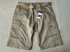 NWT Men's Revolution Khaki Beige Cotton Cargo Pocket Shorts w/ Belt SIZE 38 ONLY