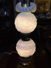 Antique Fenton Poppy Milk Glass Hurricane Gone With The Wind Lamp