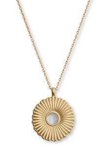 "Lucky Brand Gold-Tone Shell Accent Textured Round Pendant Necklace 17"" + 2"" ex"