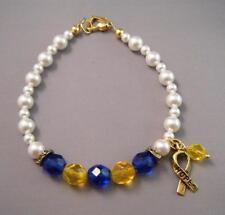 BLUE & YELLOW RIBBON Awareness Czech Swarovski Pearl Bracelet w/ Gold Hope Charm